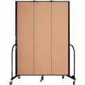 "Screenflex 3 Panel Portable Room Divider, 8'H x 5'9""L, Fabric Color: Wheat"