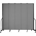 "Screenflex 5 Panel Portable Room Divider, 8'H x 9'5""L, Fabric Color: Stone"