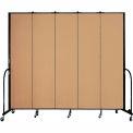 "Screenflex 5 Panel Portable Room Divider, 8'H x 9'5""L, Fabric Color: Sand"