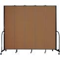 "Screenflex 5 Panel Portable Room Divider, 8'H x 9'5""L, Fabric Color: Oatmeal"