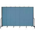 "Screenflex 7 Panel Portable Room Divider, 8'H x 13'1""L, Fabric Color: Summer Blue"