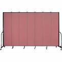"""Screenflex 7 Panel Portable Room Divider, 8'H x 13'1""""L, Fabric Color: Mauve"""