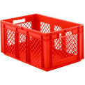 """SSI Schaefer Euro-Fix Solid Base/Mesh Sides Container EF6281 - 24"""" x 16"""" x 11"""", Red"""