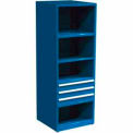 "SPS 3 Drawer, 4 Shelf Cabinet-29 1/4""W x 27 3/4""D x 75""H-Monaco Blue"