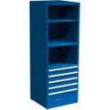 "SPS 5 Drawer, 3 Shelf Cabinet-29 1/4""W x 27 3/4""D x 75""H-Monaco Blue"