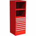 "SPS 8 Drawer, 2 Shelf Cabinet-29 1/4""W x 27 3/4""D x 75""H-Carmine Red"