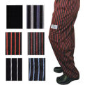 E Z Fit Chef'S Pants, X Large, Red/Black Pin Stripe
