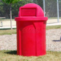 42 Gal. Round Receptacle, Dome Top Lid, Liner - Red