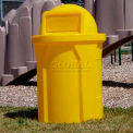 42 Gal. Round Receptacle, Dome Top Lid, Liner - Yellow