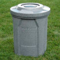 42 Gal. Round Receptacle, Bug Barrier Lid, Liner - Black Granite
