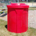 42 Gal. Round Receptacle, Bug Barrier Lid, Liner - Red