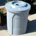 "42 Gal. Round Receptacle, 4"" Recycle Lid, Liner - Brown Granite"