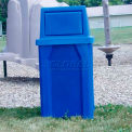 32 Gal. Square Receptacle, Dome Top, Liner - Blue