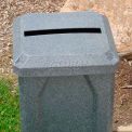 "32 Gal. Square Receptacle, 2"" x 15"" Paper Slot Lid, Liner - Brown Granite"