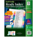 Avery Ready Index T.O.C. Divider, 1 to 31, 31 Tabs, White/Multicolor