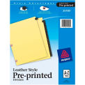 """Avery A to Z Black Leather Tab Divider, Printed """"A to Z"""", 8.5""""x11"""", 25 Tabs, White/White"""