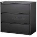 "Lorell High Quality 3-Drawer Lateral File, LLR88031, 42""W x 18-5/8""D x 40-1/4""H, Black"