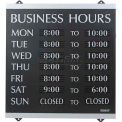 """U.S. Stamp & Sign Business Hours Sign, 4247, W/176 3/4"""" Characters, 14"""" X 13"""", Black/Silver"""