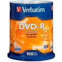 Verbatim® DVD-R Disc, 95102, 16X Speed, 4.7GB, 120 Minutes, 100/Pk, Silver