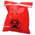 "Red Biohazard Waste Stick-On Bags, 2 mil, 9""W x 10""L, 100/Box"