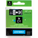 "DYMO® D1 Standard Labels 1/2"" White on Black"