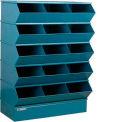 "Stackbin® Steel Hopper Stack Bin, 15 Compartment Sectional Unit, 37""W x 20""D x 53-1/2""H, Blue"