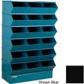 "Stackbin® Steel Hopper Stack Bin, 18 Compartment Sectional Unit, 37""W x 20""D x 63""H, Black"