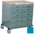 Stackbin Workbench, Mobile Workbench 32 x 24 x 34 Maple Top - Blue