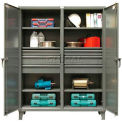 Stronghold Double-Door, Independent Locking Cabinet with 6 Drawers 60 x 24 x 78
