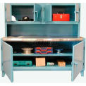 Workstation with Upper Compartment & Stainless Steel Top 72 x 30 x 66