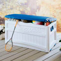 Suncast DB8000BW Premium Blue Top Deck Box with Wheels 83 Gallon