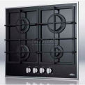 Summit 4-Burner Gas-On-Glass Cooktop W/Sealed Burners & Cast Iron Grates