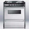 "Summit Slide-In Electric Range, 30""W W/Stainless Steel Doors & Black Porcelain Top"