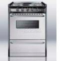 "Summit Slide-In Electric Range, Slim 24""W W/Stainless Steel Doors & Black Porcelain Top"