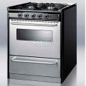 "Summit Slide-In Gas Range, 30""W, W/Stainless Steel Doors & Four Sealed Burners"