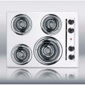 "Summit 24""W 220V Electric Cooktop, White Porcelain Finish"