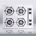 "Summit 24""W Cooktop W/Four Burners & Pilot Light Ignition, White"