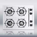 "Summit 24""W Gas Cooktop W/Four Burners & Gas Spark Ignition, White"