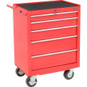 """Global™ Industrial 27"""" 5-Drawer Roller Tool Cabinet W/ Ball Bearing Slides - Red"""
