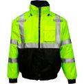 Tingley® Bomber 3.1™ Hi-Vis Hooded Jacket, Zipper, Fluorescent Yellow/Green/Black, S