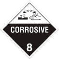 INCOM® TA800PS Class 8 Corrosive Adhesive Vinyl Placard