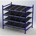 "UNEX Flow Cell Heavy Duty Gravity Rack w/ wheelbed Starter, 4 Level, 72""W x 48""D x 72""H"