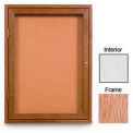 "36"" x 36"" 1-Door Enclosed White Easy Tack Board with Light Oak Frame"