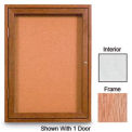 "96"" x 48"" 3-Door Enclosed White Easy Tack Board with Light Oak Frame"