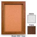 "96"" x 48"" 3-Door Enclosed White Easy Tack Board with Walnut Frame"
