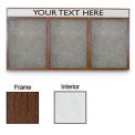 "72"" x 36"" 3-Door Enclosed White Easy Tack Board w/Walnut Frame"