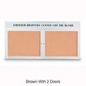 "United Visual Products 72""W x 36""H 3-Door Indoor Enclosed Illuminated Corkboard with Header"