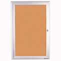 "United Visual Products 18""W x 24""H 1-Door Indoor Enclosed Corkboard with Radius Frame"