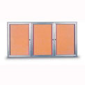 """United Visual Products 72""""W x 36""""H 3-Door Indoor Enclosed Corkboard with Radius Frame"""