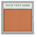 "United Visual Products 42""W x 32""H 2-Door Indoor Enclosed Corkboard with Header and Radius Corners"